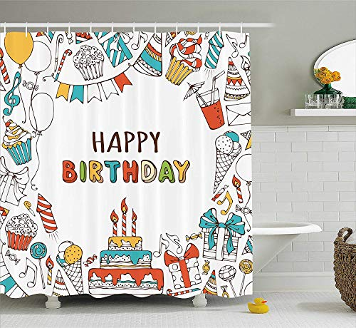 Birthday Decorations Shower Curtain, Hand Drawn Birthday Sweets Party Blowouts Presents Music Note Garlands, Fabric Bathroom Decor Set with Hooks, 60 W x 72 L inches, Multicolor ()