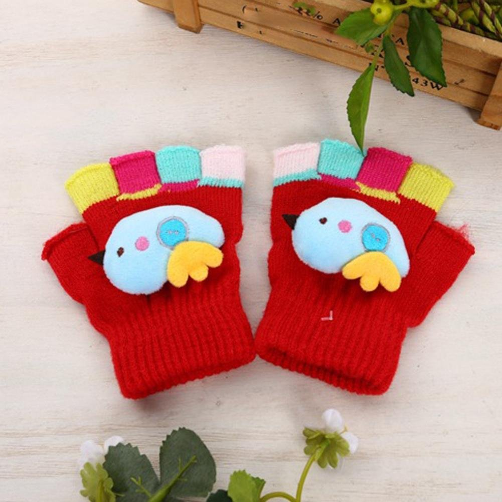 Lavany Kid Winter Gloves Fingerless Baby Boy Girl Stitching Mitten For 2-7 year