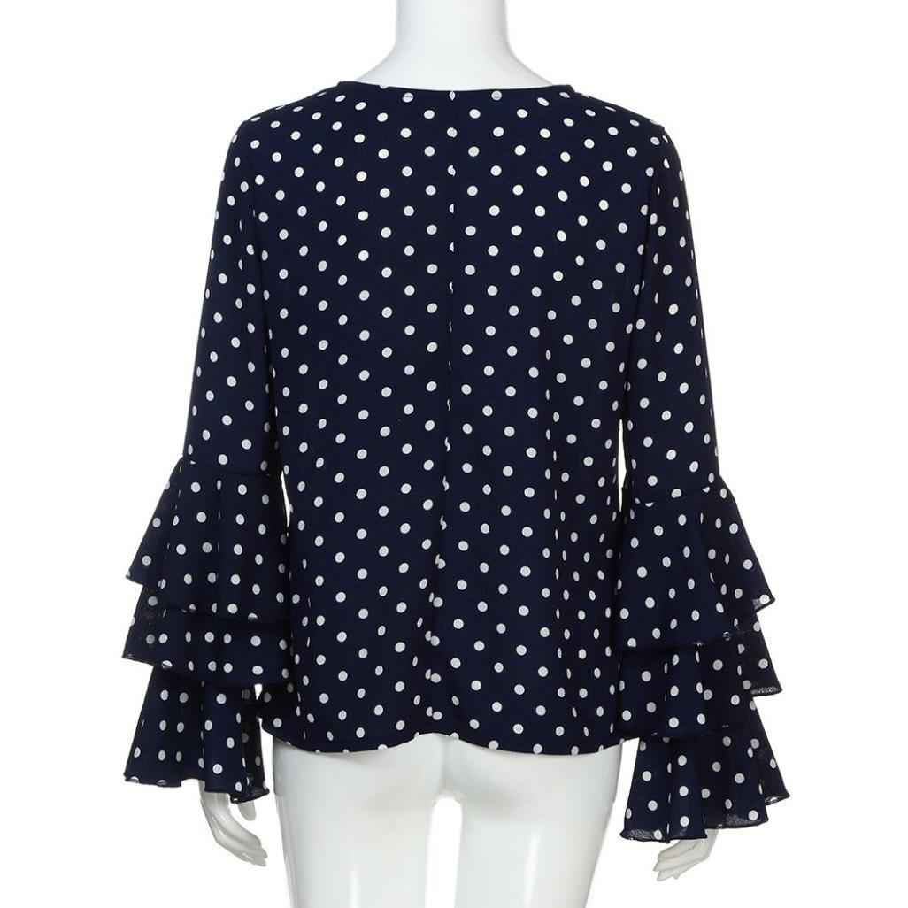 Lenfesh Casual de Mujer Solid Camisa Manga Larga Blusa Camisas con Volantes: Amazon.es: Ropa y accesorios