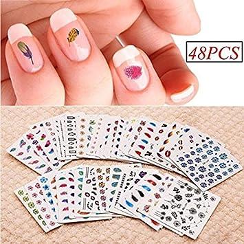 Amazon Hindom 48 Sheet Printed Nail Art Tips Sticker Set Beauty