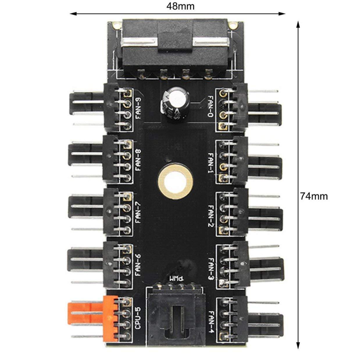 banbie8409 Velocidad de 4 Pines de Control de Temperatura de refrigeraci/ón Controlador del Ventilador PWM Fan Speed Hub 10 12V Caja de la computadora con el Cable de Manera PWM Conexi/ón