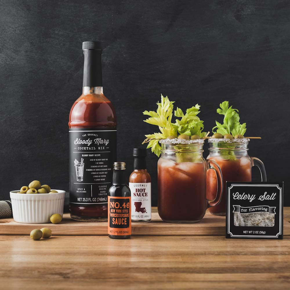 Bloody Mary Cocktail Gift Set with Mason Jar Glasses | Includes Bloody Mary Mix, 2 Mason Jar Glasses with Handles, 2 Gourmet Hot Sauces, and Celery Salt by Thoughtfully (Image #6)
