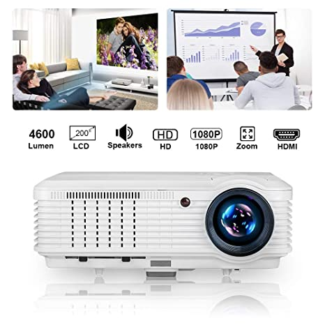 CAIWEI 4600 Lumen HD Multimedia LCD Video Projector Support HD 1080P Zoom in/out HDMI USB LED Movies Projectors for Gaming Backyard Cinema 4600 Lumen ...