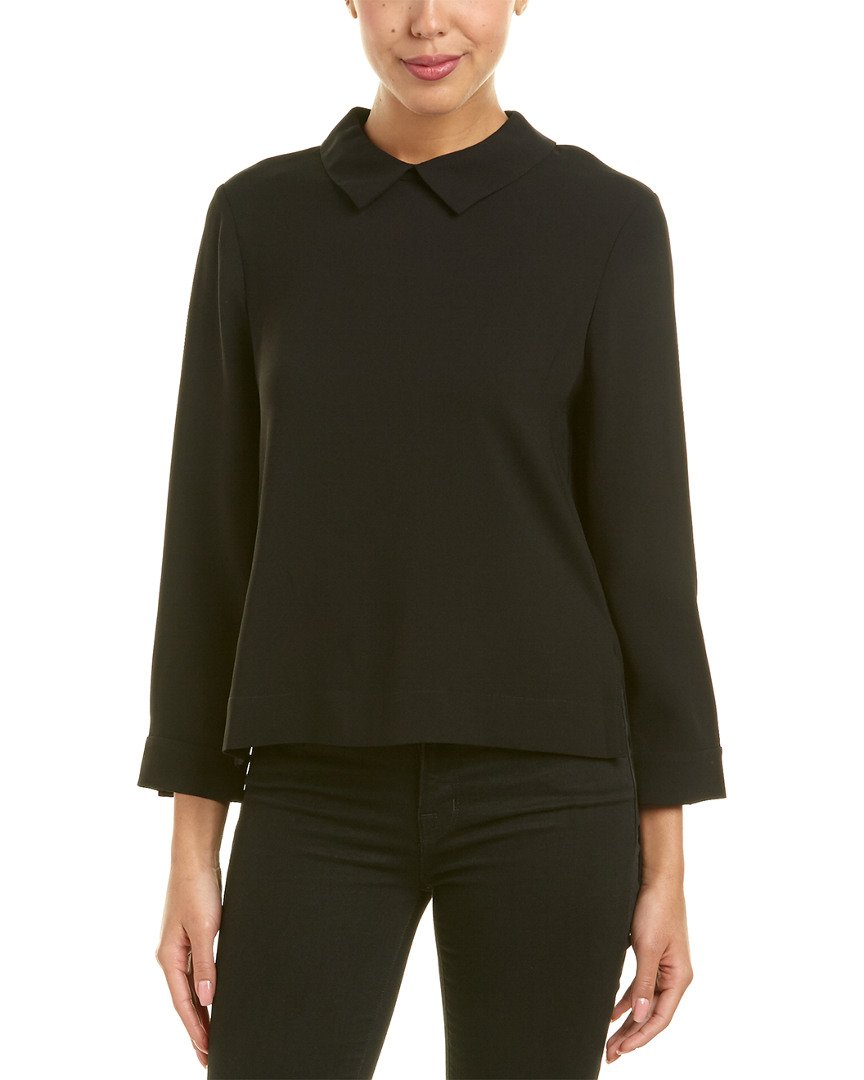 BCBGMAXAZRIA Women's Cecil Woven Collared Top with Flyaway Back, Black, XS