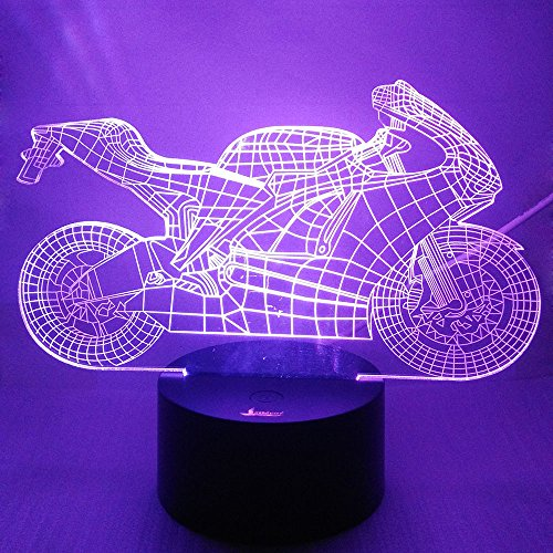 Motorcycle 3D Night Light LED Illusion Lamp Bedside Desk Table Lamp, Loveboat 7 Color Changing Lights with Acrylic Flat & ABS Base & USB Charger as Home Decor and A Best Gift