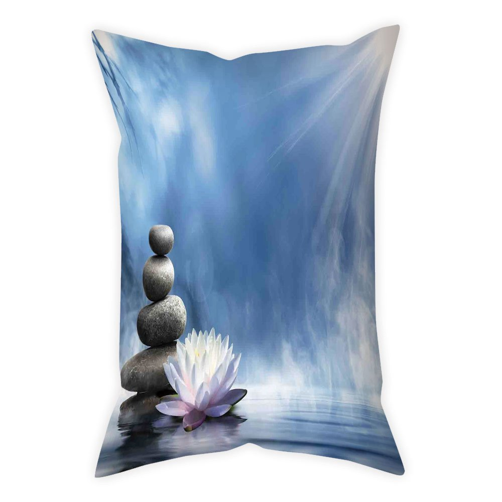 iPrint Satin Throw Pillow Cushion Cover,Spa Decor,Purity of the Zen Massage Magic Lily Stones Sunbeams Spirituality Serenity,Decorative Square Accent Pillow Case