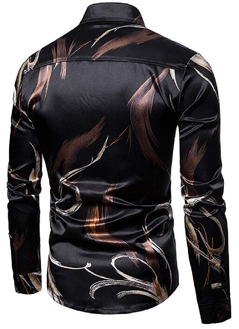 Domple Mens Button Up Regular Fit Casual Long Sleeve Printing Dress Work Shirt