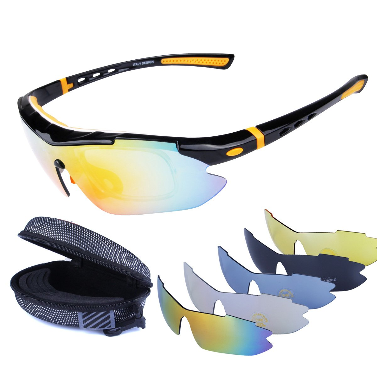 19d5e0a81db4 Polarized Sports Sunglasses Cycling Baseball Running Fishing Driving Golf  Hiking Biking Outdoor Glasses with 5 Interchangeable Lenses OTG Motorcycle  Bicycle ...