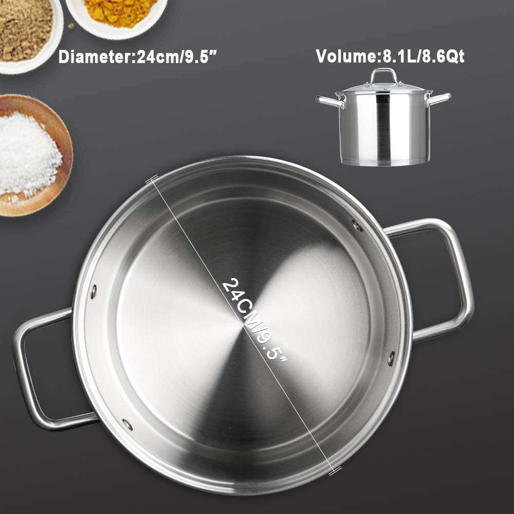 Duxtop Professional Stainless steel Cookware Induction Ready Impact-bonded Technology 1.6Qt Saucepan