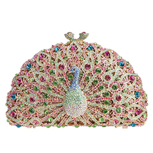 Bag Clutch for Bag Girls Multicolor Crystal Peacock Bonjanvye Glitter Evening and px5wC6aq