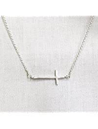 Silver Side Cross Necklace Sideways Cross Artisan Made Also in Gold and Rose Gold