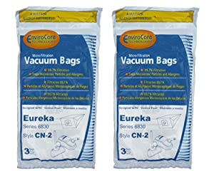 6 Eureka CN-2, CN2 Vacuum Bags by Envircare Series 6830, Power Team, Canister, General Electric Vacuum Cleaners, 61990A, 61990, 6830, 6831, 6833, GE6830, GE 6830