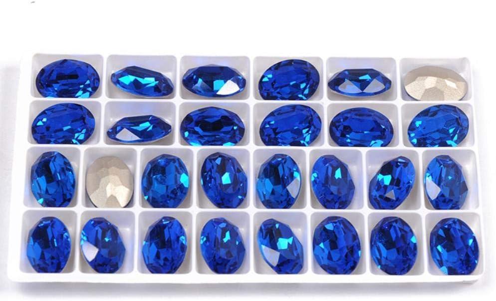 4120 Toutes Tailles Capri Bleu Ovale Strass Point Retour Artisanat Strass Verre DIY Coudre Sur Des Pierres De Cristal Pour V/êtements 20x30mm 3 Pcs Sans Griffe