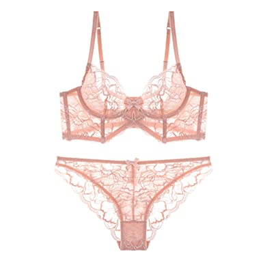 e1a2762df6 Varsbaby Women Sexy Lace Sheer Longline Bra Sets Non Padding Bra and Panties  Pink  Amazon.co.uk  Clothing