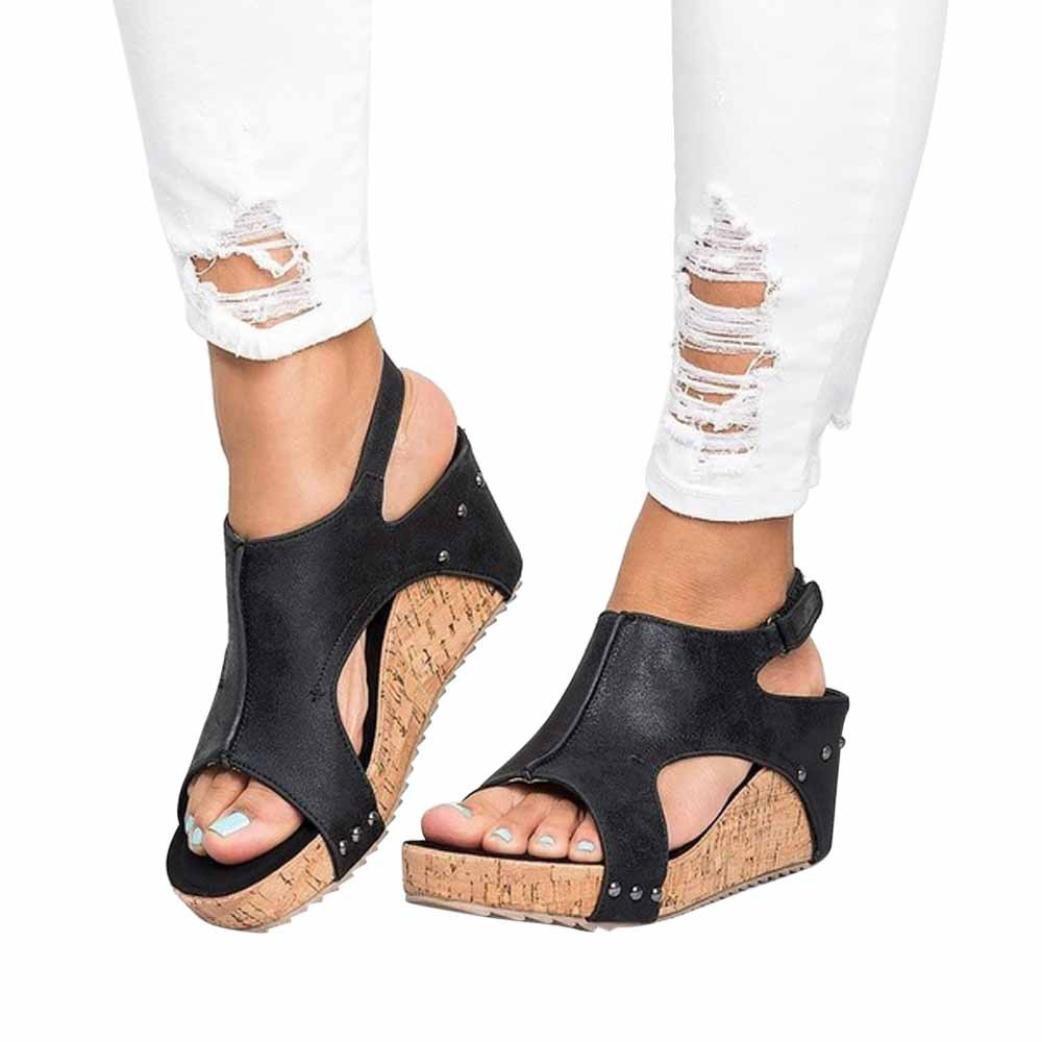 SUKEQ Women Cutout Ankle Strap Studded Platform Wedge Sandal, Breathable Open Toe Slingback Rivet Boho Summer Beach Slipper Shoes (5.5 B(M) US, Black)