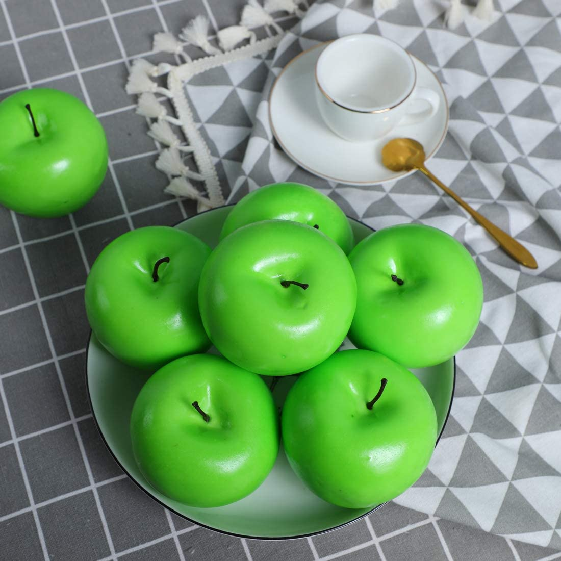 Anna Homey Deco 12PCS Fake Apple Artificial Realistic Lifelike Decorative Fruits & Vegetables Hand Made for Home, Kitchen, Party Decor(Green)