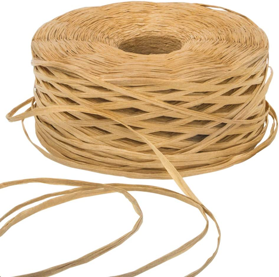 Green Elcoho 2 Rolls Christmas Raffia Ribbons 200 m Christmas Wrapping String Matte Raffia Paper Twine Gift Packing Ribbon for Christmas Gifts Kraft Craft DIY