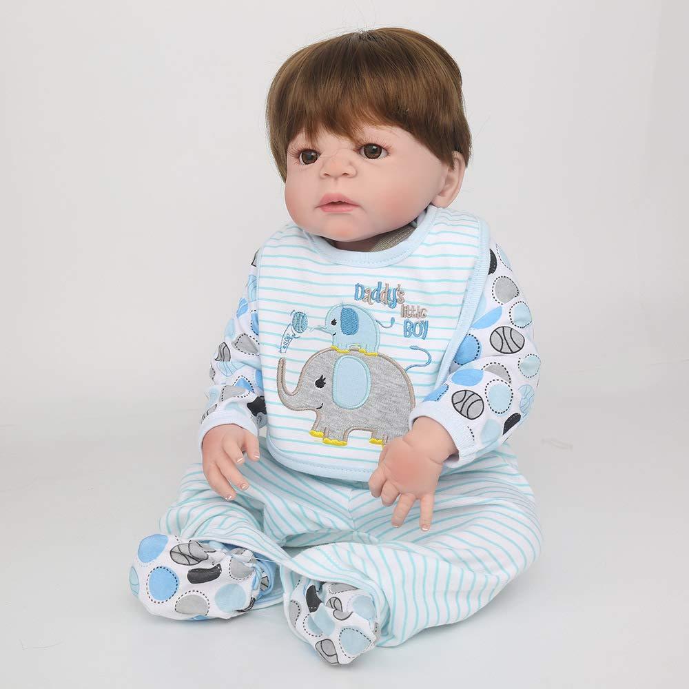 QWER Bambola Reborn, Simulazione Bambino Puzzle Bagno Bambola Realistico Morbido Silicone Bambino Giocattolo