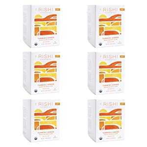 Rishi Tea Turmeric Ginger Herbal Tea | Organic, Caffeine-Free, Ayurvedic, Energy-Boosting | Citrus Flavors for Taste | 15 Sachet Bags, 1.75 oz (Pack of 6)