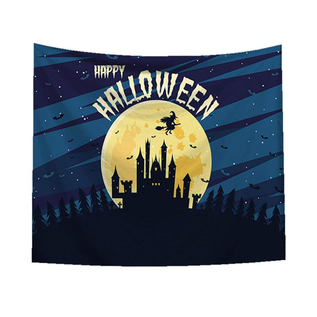 Unpara 2018 Happy Halloween Tapestry Trick Or Treat Horror Wall Hanging Home Decor Accessories Blanket (37x30, J)
