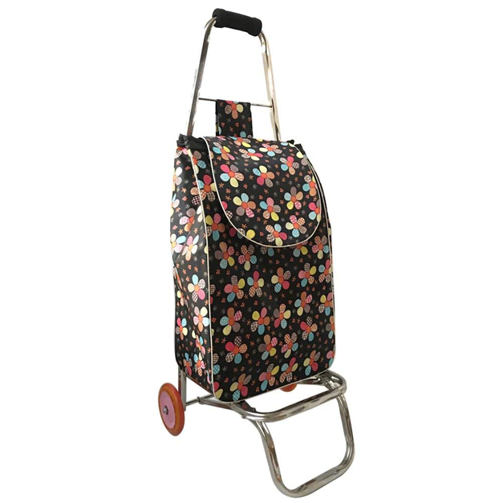 Zehaer Portable Trolley, ZGL Trolley Trolley Stainless Steel 2 Wheels Shopping Cart Groceries Pull Rod Car Portable Luggage Cart Pull Goods Folding Trailer Hand Car by Zehaer (Image #1)