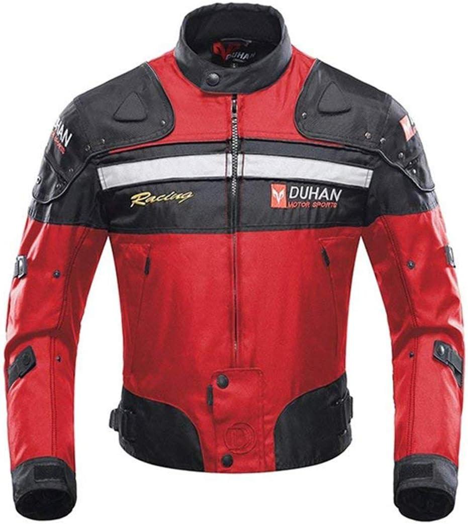 Chaqueta de moto a prueba de viento motocicleta armadura de equipo de protección otoño invierno verano para hombre de toda estaciòn (XX-Large, Rojo)