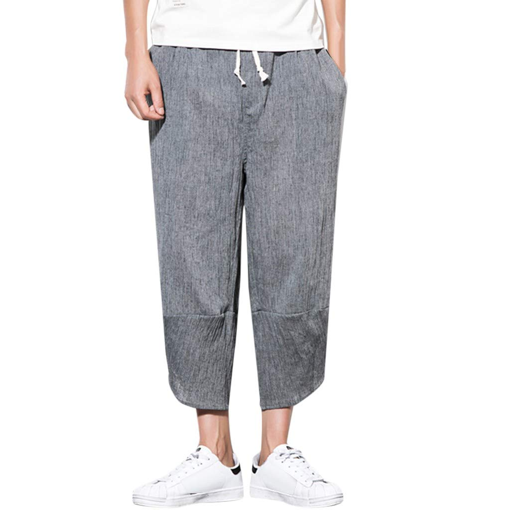 Men Linen Pants Casual Loose Fit Haren Solid Color Elastic Waist Beach Trousers Drawstring with Pocket (M, Dark Gray)