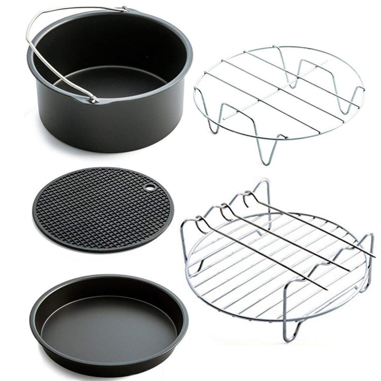 Inicio Aire sartén Accesorios de cinco piezas de la freidora para hornear pizza cesta Placa Grill Pot Mat Multi-funcional de accesorios de cocina (negro) JohnJohnsen