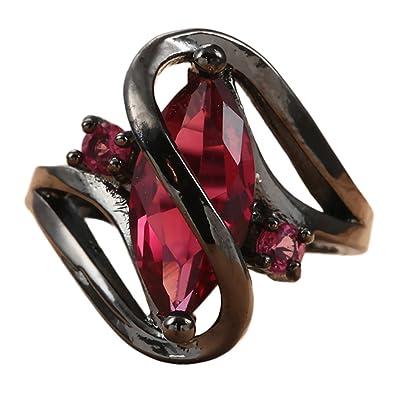 (ビグッド)Bigood 個性的 ステンレス リング 指輪 ファッションリング 透かし レッド「キュービックジルコニア
