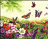 Butterflies in the Flowers-DIY Painting by number kits oil painting decoration 16x20 inch wall picture unique gift home decor Frameless