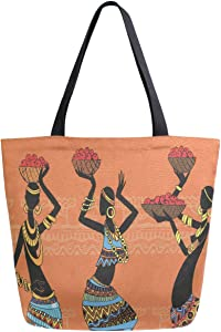 ZzWwR Ethnic Beautiful African Black Women Pattern Extra Large Canvas Shoulder Tote Top Storage Handle Bag for School Gym Beach Weekender Travel Reusable Grocery Shopping