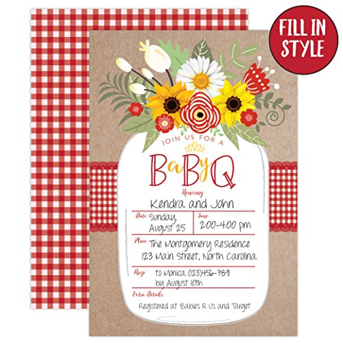 Baby BBQ Invitation, Baby Shower Invite, Baby Q Barbeque Summer Invition Printable, Mason Jar Floral, 20 Fill in Invitations and Envelopes