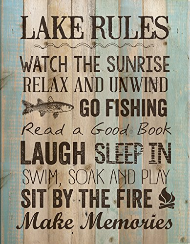 P. GRAHAM DUNN Lake Rules Relax Unwind Fishing Memories 16 x 12 inch Pine Wood Plank Wall Sign Plaque