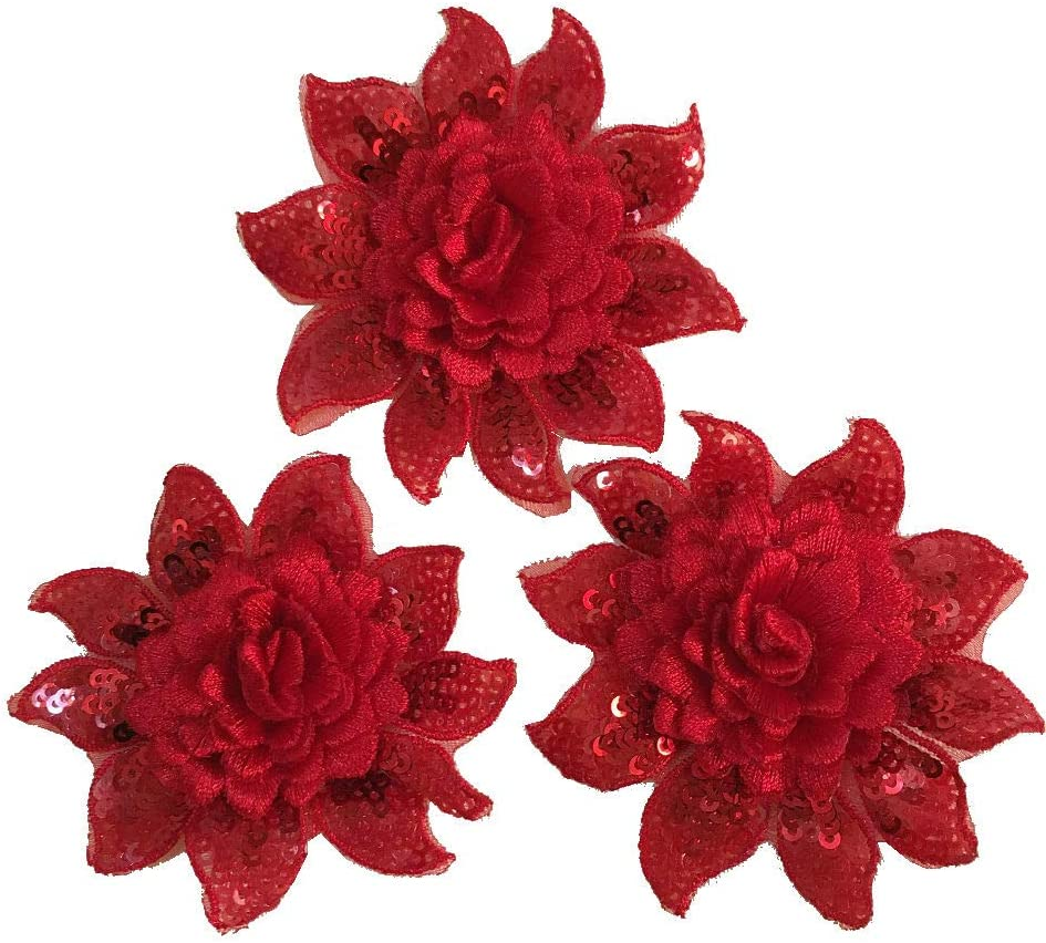 3pcs Flower Patches Sequins Embroidery Arts Crafts Sewing Patches(Diameter:8cm) (Red)
