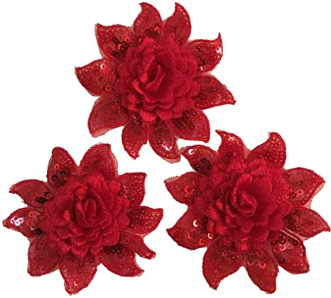 3pcs Flower Embroidered Floral Trim Iron//Sew on Applique Patch Embellishment