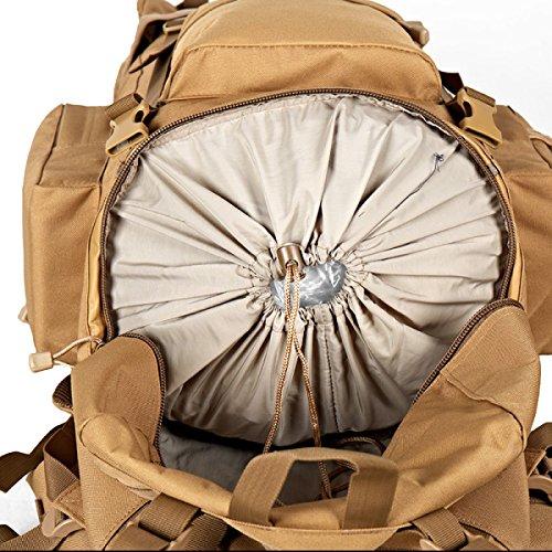 Xin.S65L Al Aire Libre Alpinismo Bolsa Mochila Táctica Hombros Gran Capacidad Paquete De Ventilador De Viaje Senderismo Multi-funcional Mochila De Combate Brown