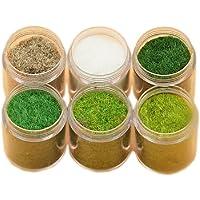 Yalulu 6 Pack Mixed Model Grass Cashmere Powder Green Grass Fairy Garden Miniatures Clay DIY Artificial Sand Table Micro…