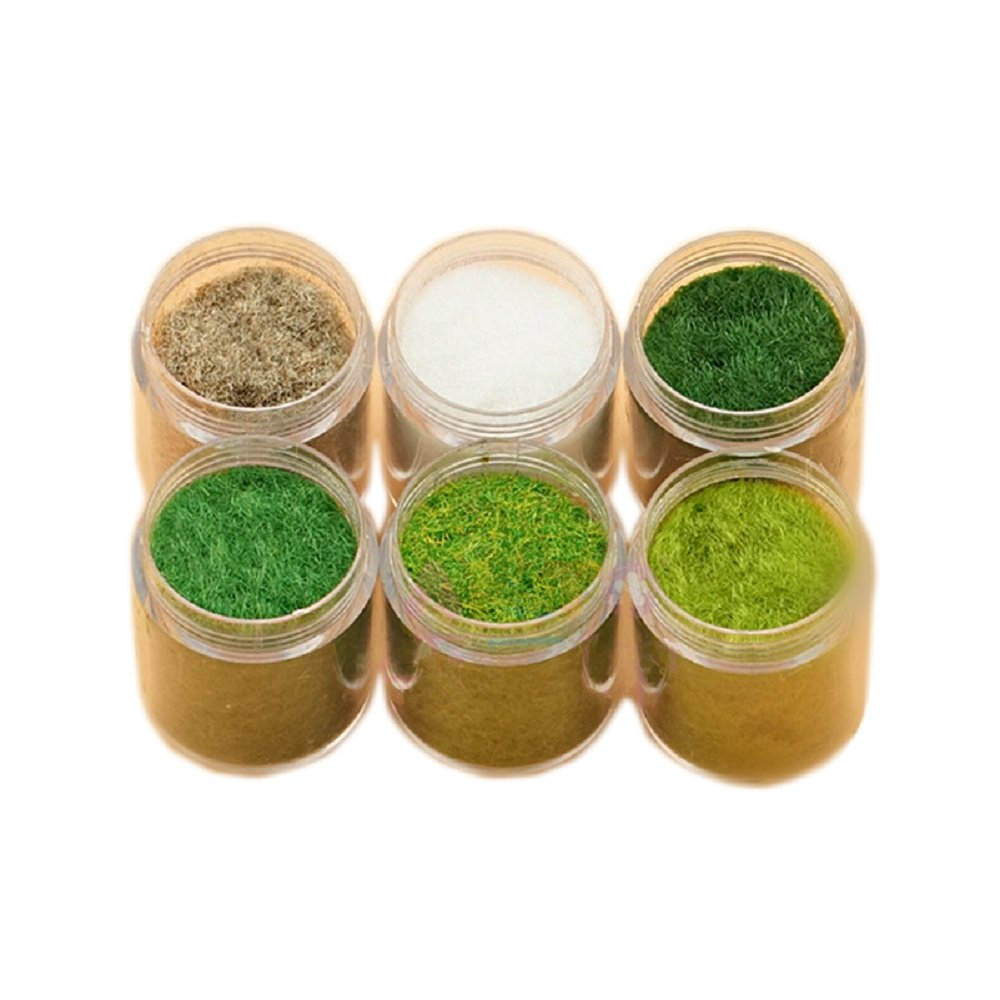 Yalulu 6 Pack Mixed Model Grass Cashmere Powder Green Fake Grass Fairy Garden Miniatures Clay DIY Artificial Sand Table Micro Landscape Building