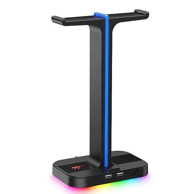 havit RGB Soporte de Cascos Gaming Dual con 2 Cargador USB,Soporte para Auriculares Gaming con 7 Modos de iluminación…