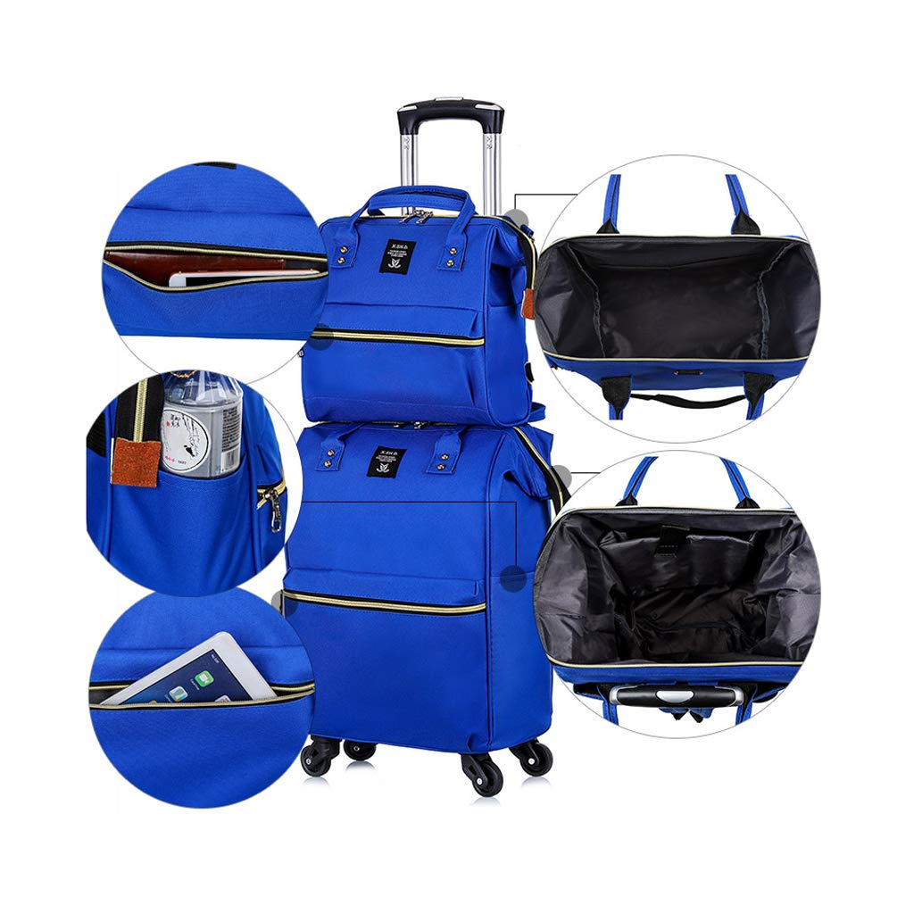 Color : Black Minmin-lgx Short-Distance Travel Bag Travel Duffle Trolley Bag Tote Carry-On Luggage Rolling Gym Bag
