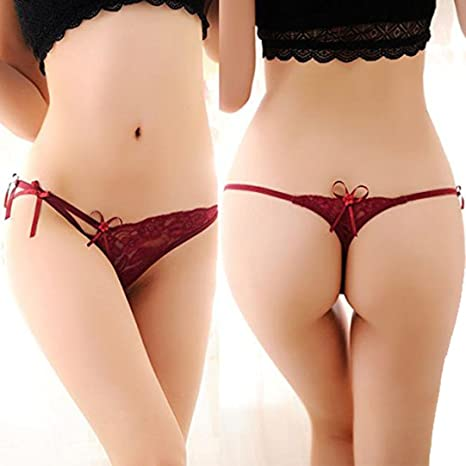 Susenstone Mujeres lenceria encaje tanga Panty calzoncillos bragas ropa interior (Rojo)