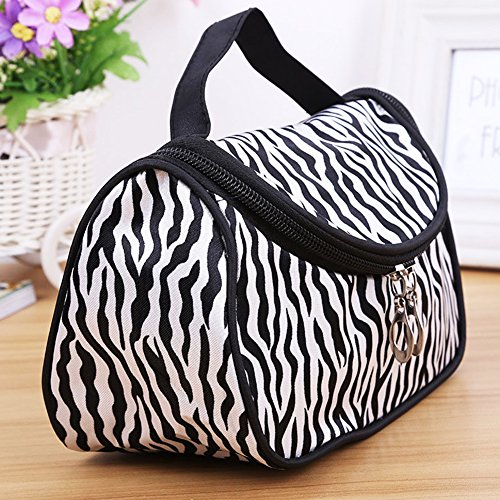 Lady Makeup Cosmetic Bag Toiletry Bag Zebra Travel Handbag Organizer (Nylon+Leather)(Black+White) -