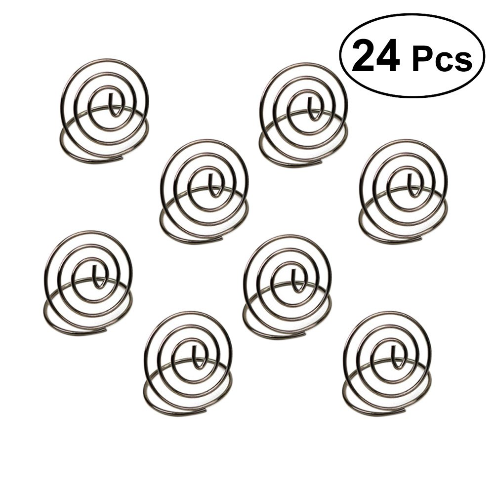 BESTONZON Round Shape Sliver Wire Place Card Holder Stands, Table Name Number Holders, Paper Menu Picture Photo Clip Holder Menu Clips for Weddings, Dinner, Parties(24 Pack)
