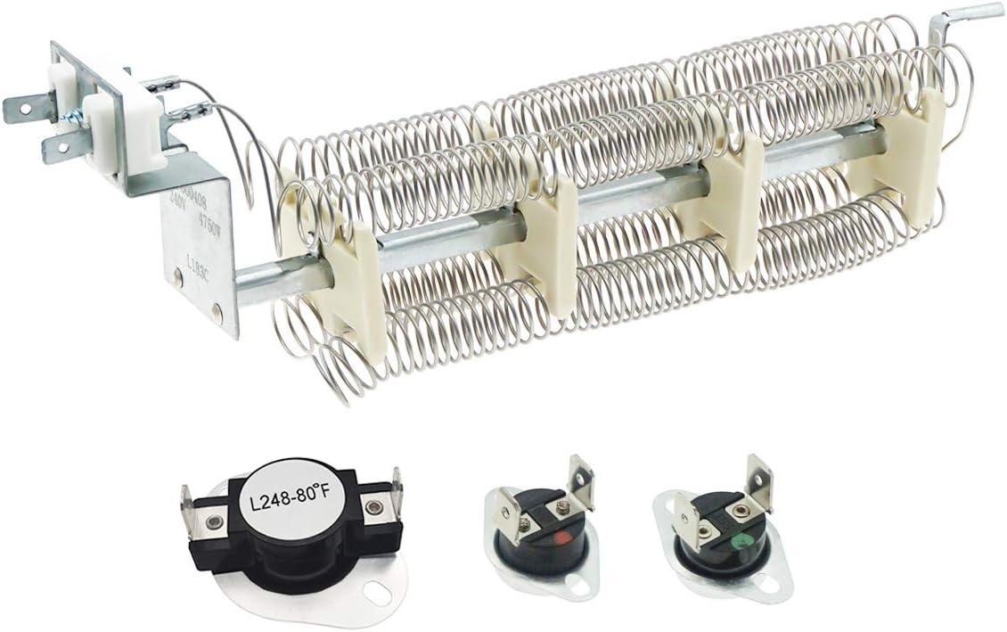 Siwdoy LA-1044 LA1044 Dryer Heat Element and LA-1053 Dryer Thermostat Fuse Kit Compatible with Maytag PYET444AYW, Maytag PYET244AYW, Admiral LNC7764A71 Dryer