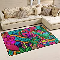 LORVIES Hippie Drawing Likes As Stoner Art Area Rug Carpet Non-Slip Floor Mat Doormats for Living Room Bedroom 60 x 39 inches