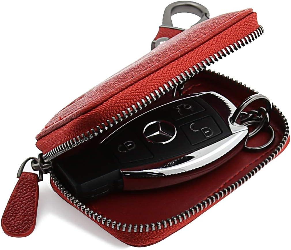 AslabCrew Car Key case Genuine Leather Car Smart Key Chain Keychain Holder Metal Hook and Keyring Zipper Bag for Remote Key Nappa-Beige