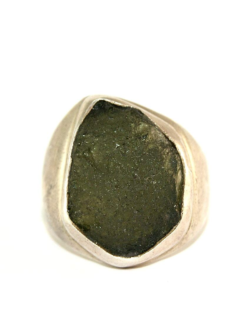 Moldavite Ring - Large - Raw Rough - Polished Sterling Silver - R1806 by Gifts and Guidance