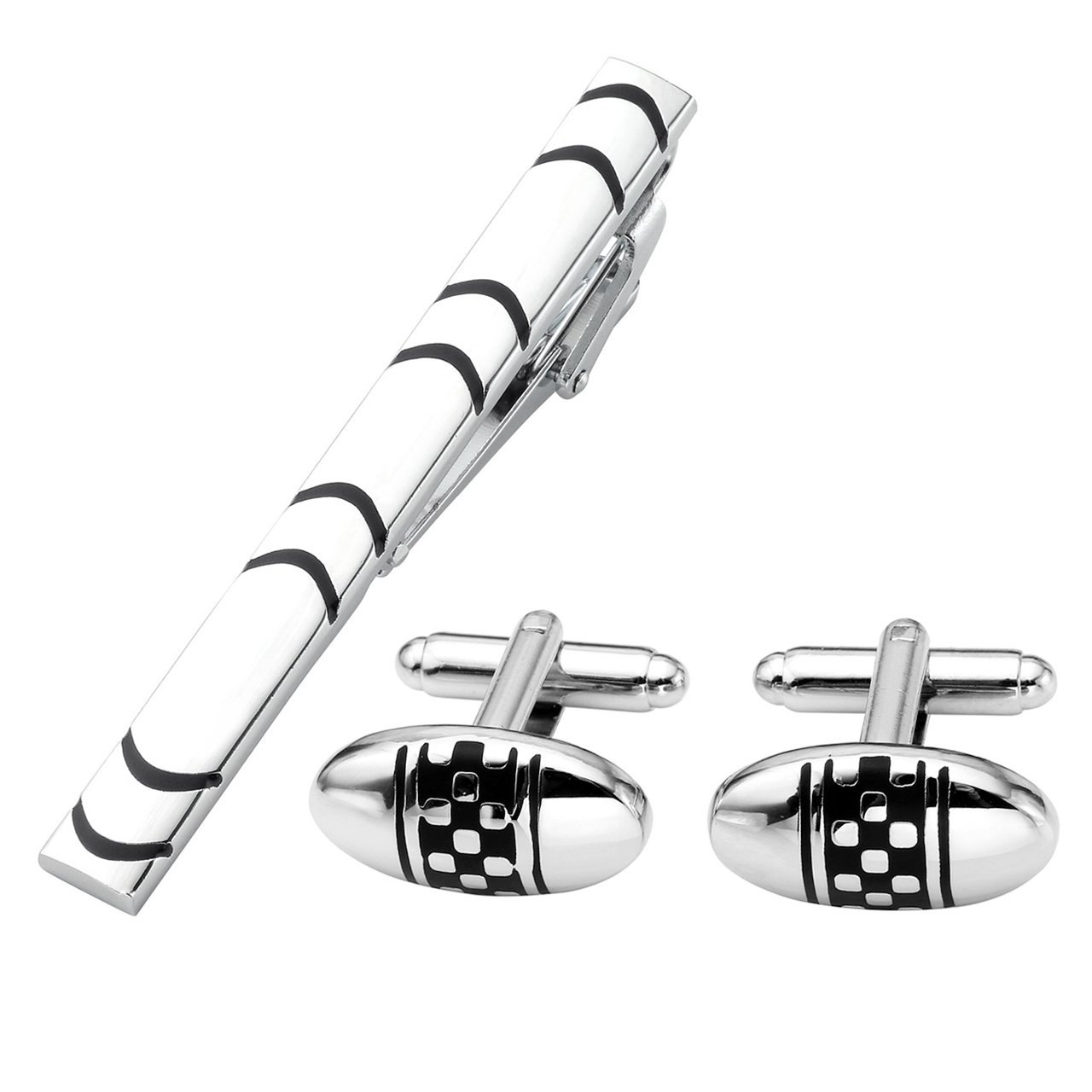 Gift Box PiercingJ 3pcs Mens Stainless Steel Exquisite Classic Tie Bar Clip and Shirt Cufflinks Set