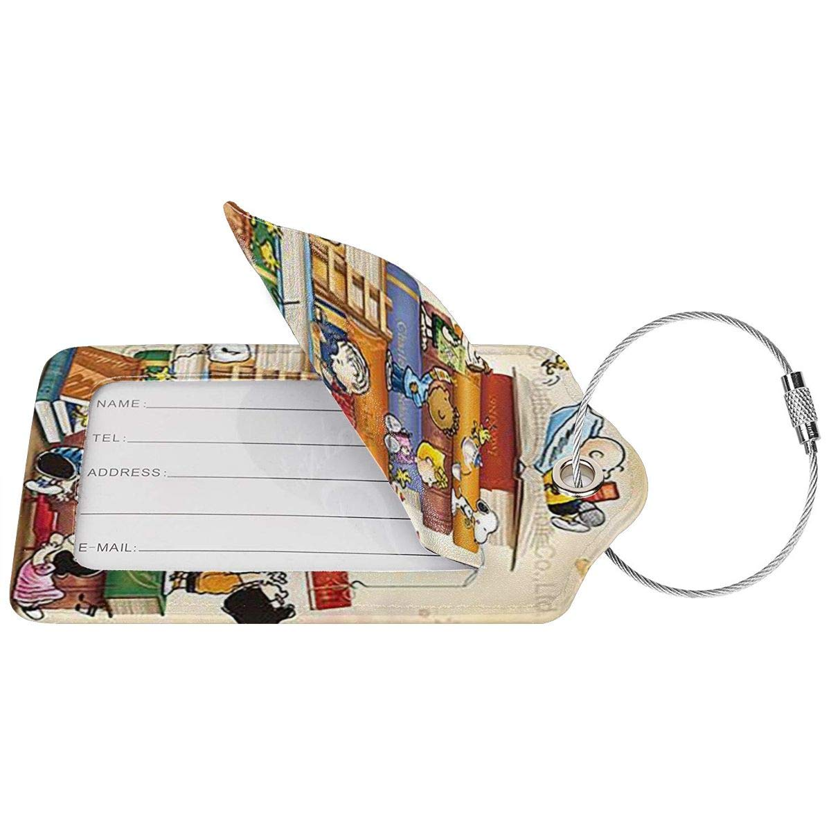 Fashion Snoopy With The Book Soft Leather Luggage Tags With Privacy Cover 1-4 Pcs Choose Suit For Travel,Vacation