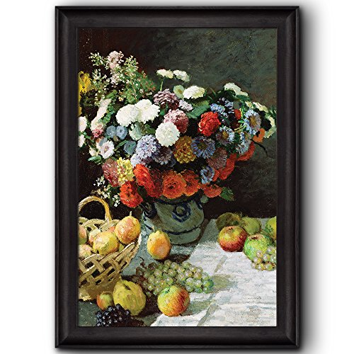 Still Life with Flowers and Fruit by Claude Monet (No Signature) Framed Art